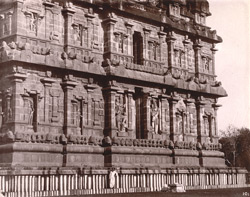 View from the north-west of the lower part of the     façade of the main tower of the Brihadishvara Temple, Thanjavur